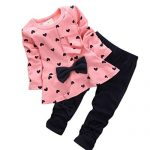 XILALU-New-Baby-Sets-Heart-shaped-Print-Bow-Cute-2PCS-Kids-Set-T-shirt-Pants-0