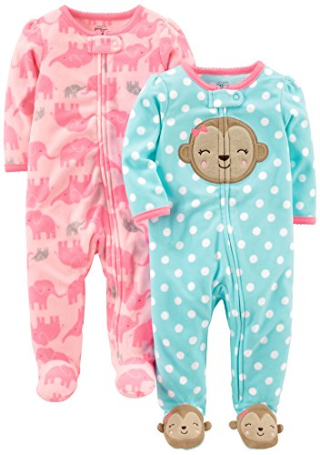Simple Joys By Carter S Baby Girls 2 Pack Fleece Footed Sleep And